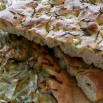 onion focaccia and rosemary and garlic focaccia